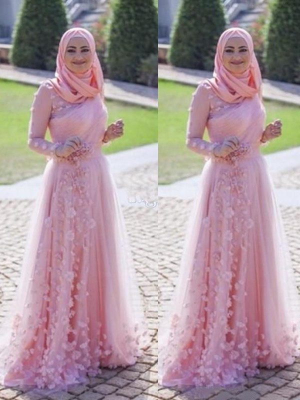 Sheath Long Sleeves Long Tulle Pink Muslim Prom Dresses