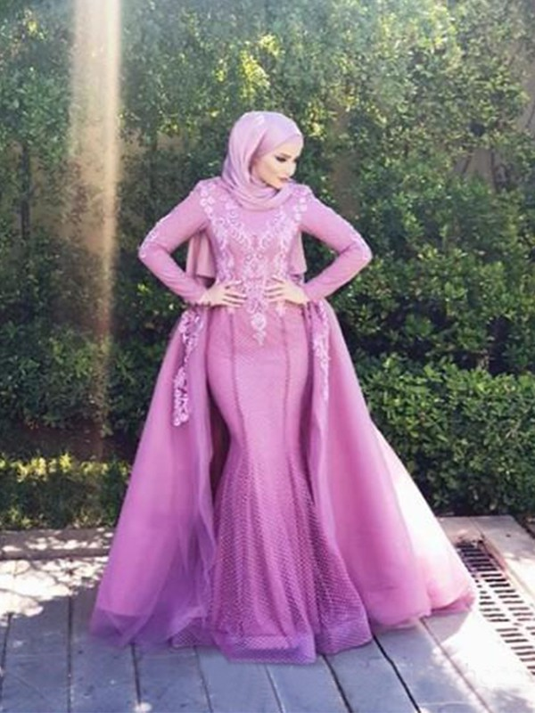 Mermaid Long Sleeves Long Lilac Net Muslim Prom Dresses