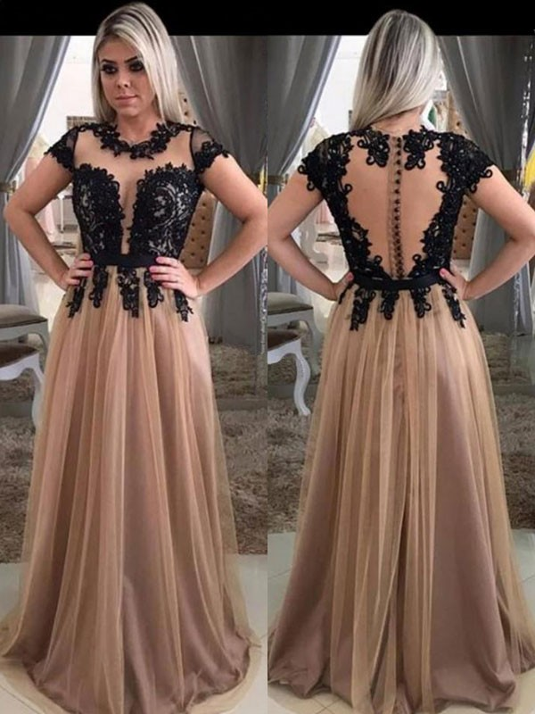 A-Line Short Sleeves Scoop Brown Brush Train Tulle Prom Dresses