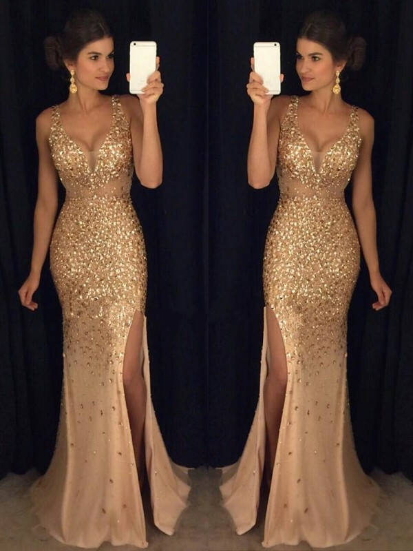 Champagne Sheath V-neck Court Train Prom Dresses with Sequin
