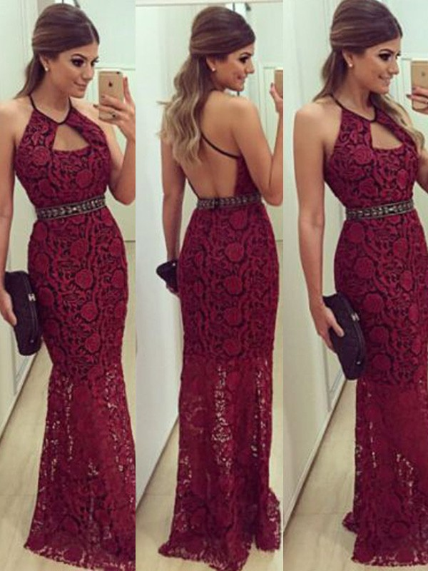 Sheath Lace Halter Floor-Length Red Prom Dresses
