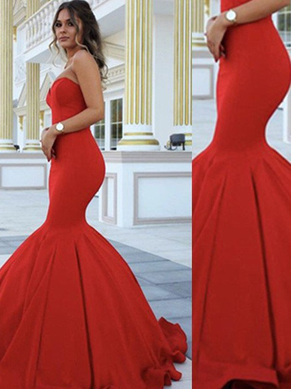 Red Mermaid Sweetheart Brush Train Prom Dresses