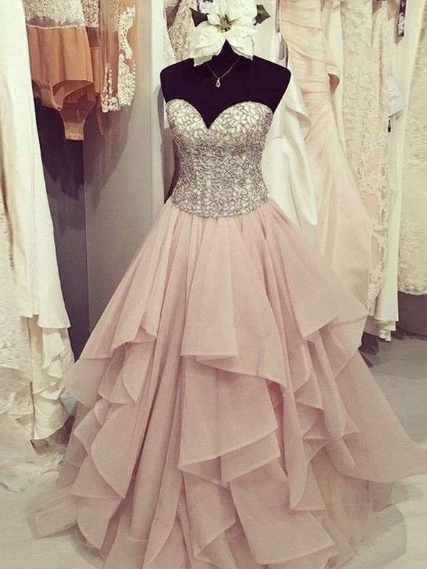 Chiffon Sweetheart Floor-Length Pink Prom Dresses
