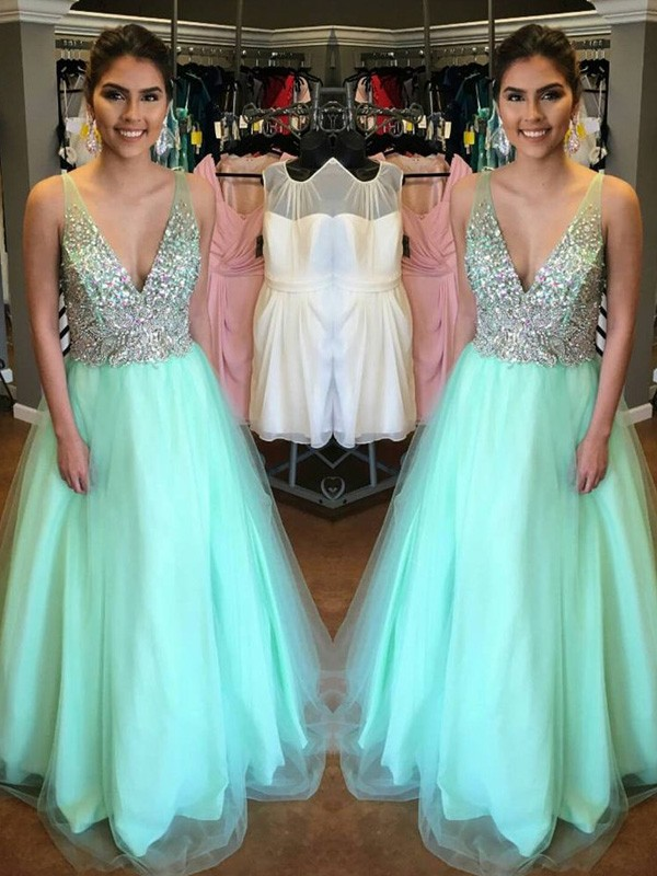 A-Line V-neck Floor-Length Green Prom Dresses with Beading