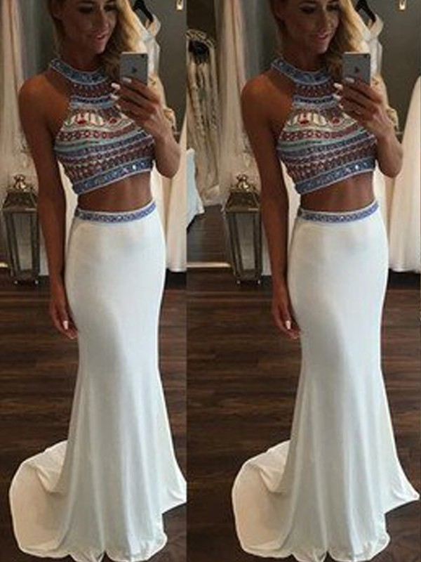Mermaid Halter Brush Train White Prom Dresses