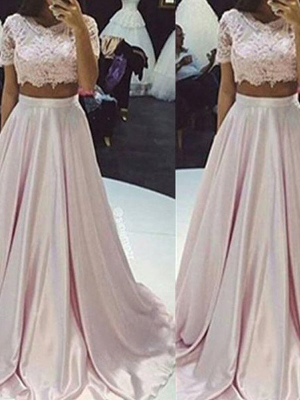 Scoop Floor-Length Pink Prom Dresses with Lace