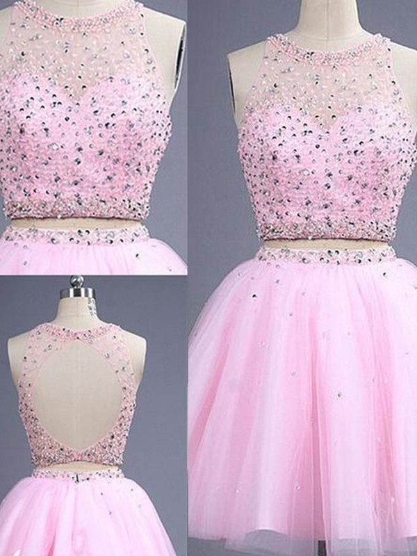A-Line Scoop Short/Mini Pink Homecoming Dresses