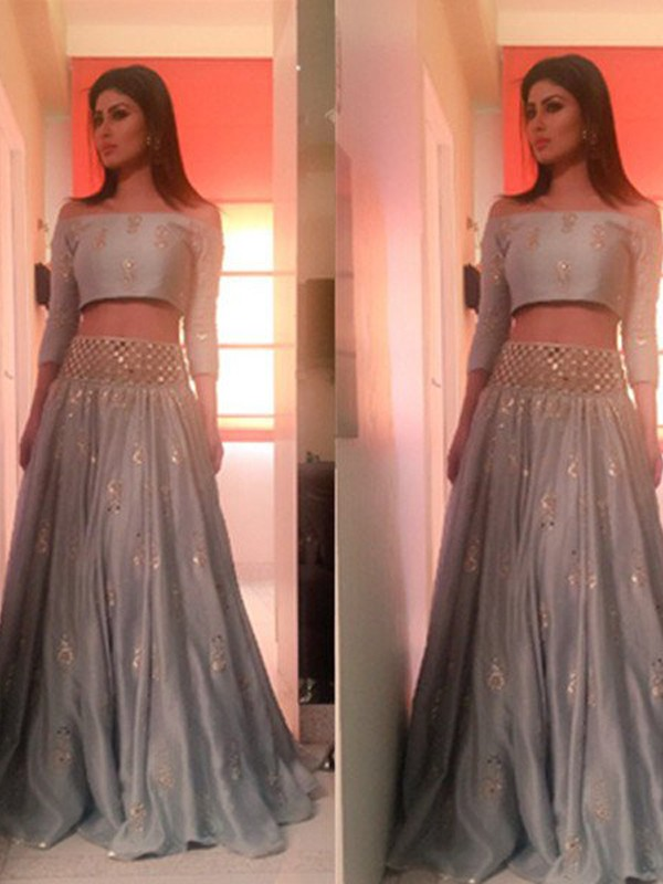 3/4 Sleeves A-Line Off-the-Shoulder Floor-Length Silver Prom Dresses