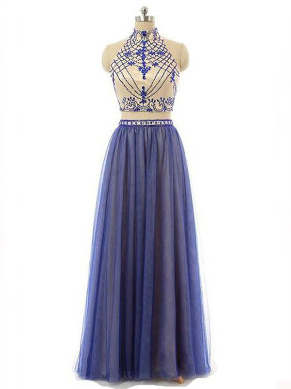 A-Line High Neck Floor-Length Blue Prom Dresses with Beading
