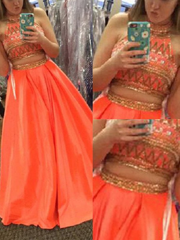 A-Line High Neck Floor-Length Orange Prom Dresses