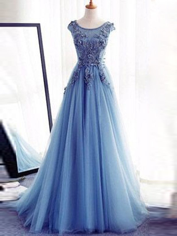 Jewel Floor-Length Light Sky Blue Prom Dresses with Applique