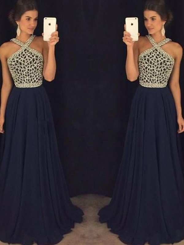 A-Line Halter Floor-Length Dark Navy Prom Dresses with Beading