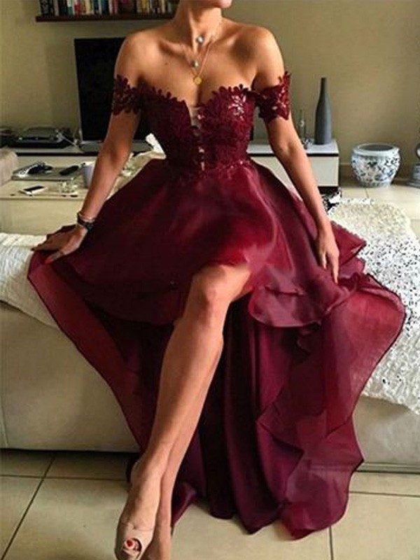 A-Line Organza Off-the-Shoulder Asymmetrical Prom Dresses with Applique