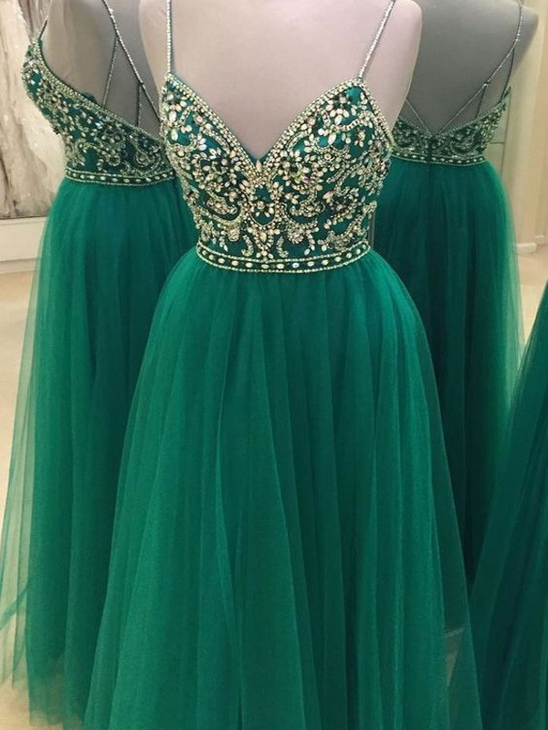 A-Line Spaghetti Straps Floor-Length Green Prom Dresses with Beading