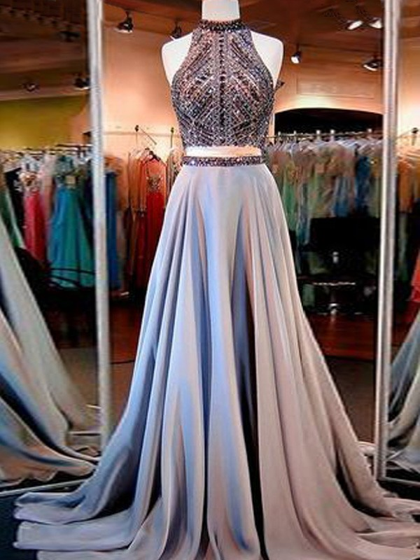 A-Line High Neck Brush Train Blue Prom Dresses
