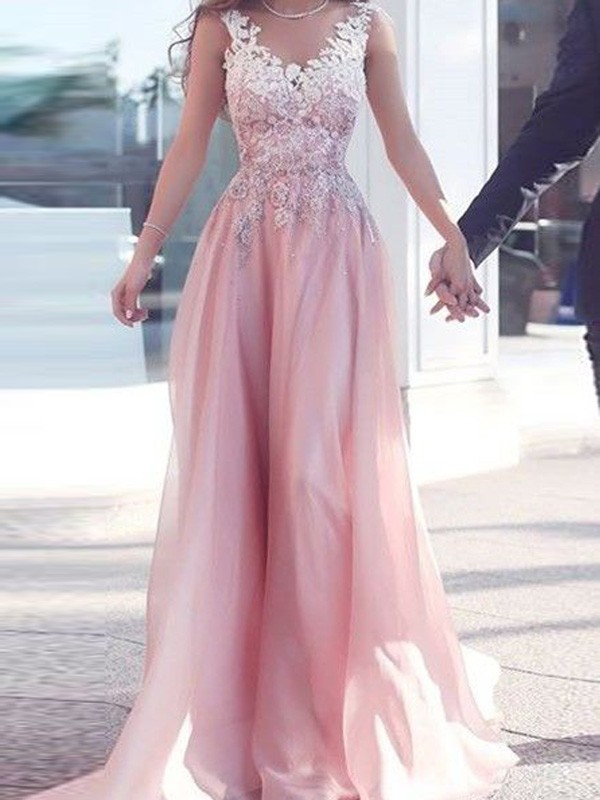 Chiffon A-Line Floor-Length Sweetheart Pink Prom Dresses