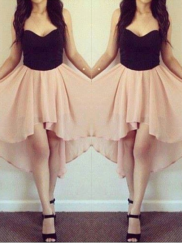 A-Line Chiffon Sweetheart Short/Mini Pink Homecoming Dresses