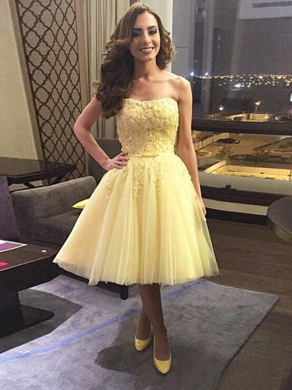 Tulle Sweetheart Short/Mini Daffodil Homecoming Dresses