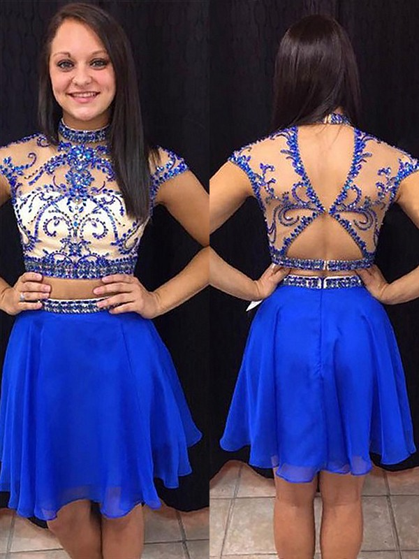 Chiffon A-Line Short High Neck Royal Blue Homecoming Dresses
