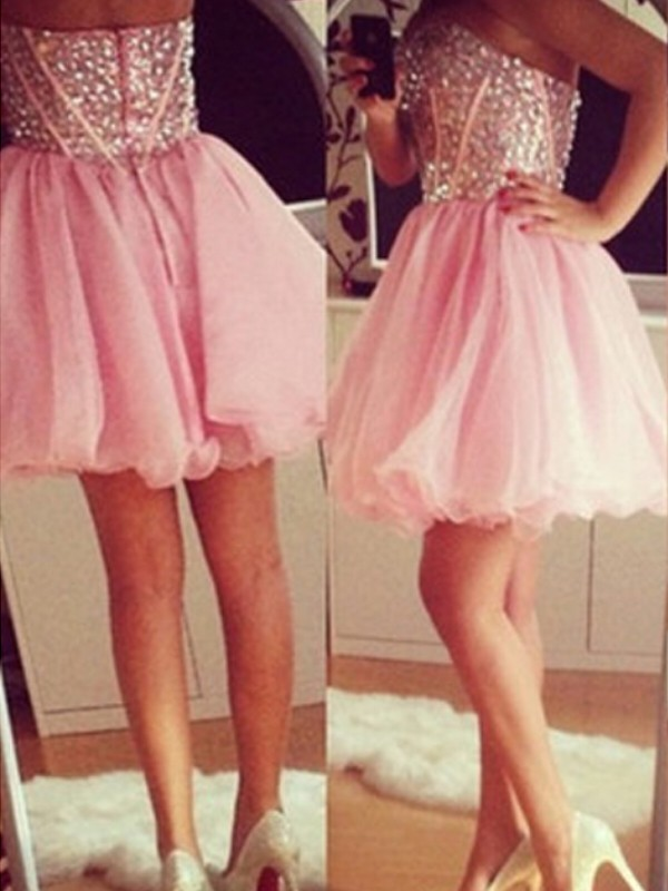 Pink A-Line Sweetheart Short Homecoming Dresses with Beading