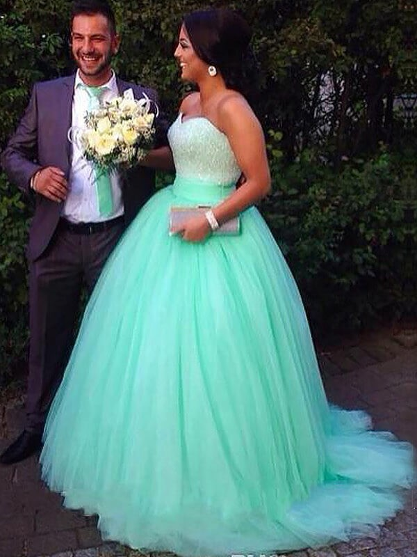 Tulle Ball Gown Brush Train Sweetheart Green Prom Dresses