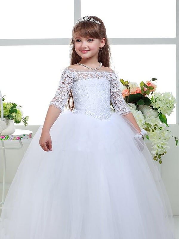 Tulle Off-the-Shoulder Floor-Length White Flower Girl Dresses