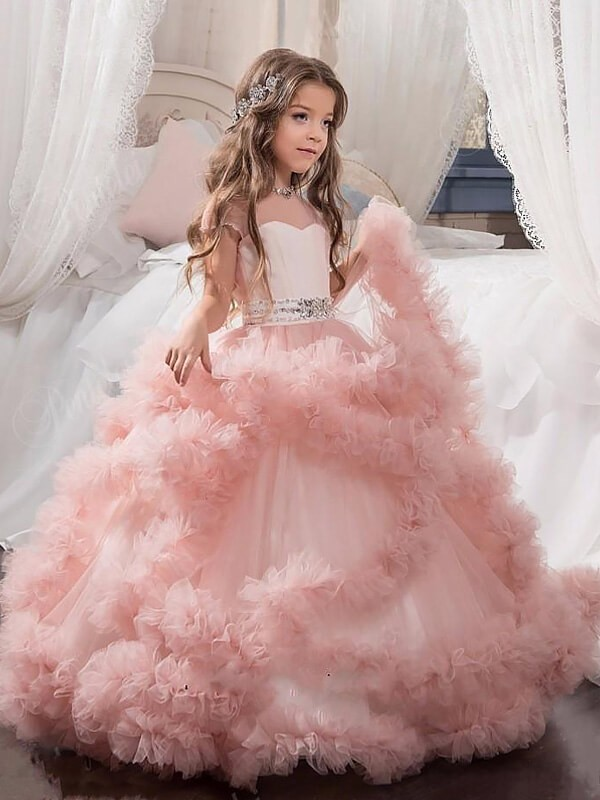 Tulle Short Sleeves Jewel Floor-Length Pink Flower Girl Dresses