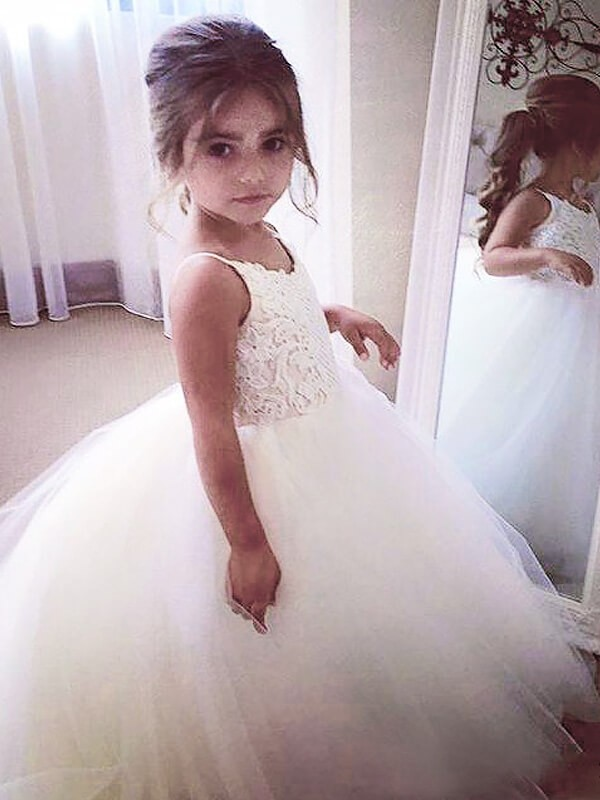 White Ball Gown Jewel Floor-Length Flower Girl Dresses with Lace