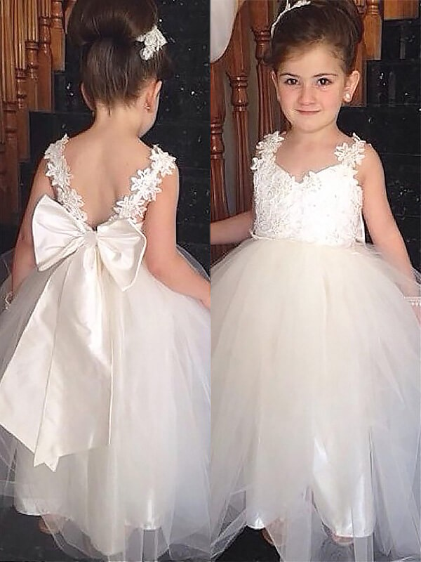Ivory Sweetheart Tulle Floor-Length Flower Girl Dresses