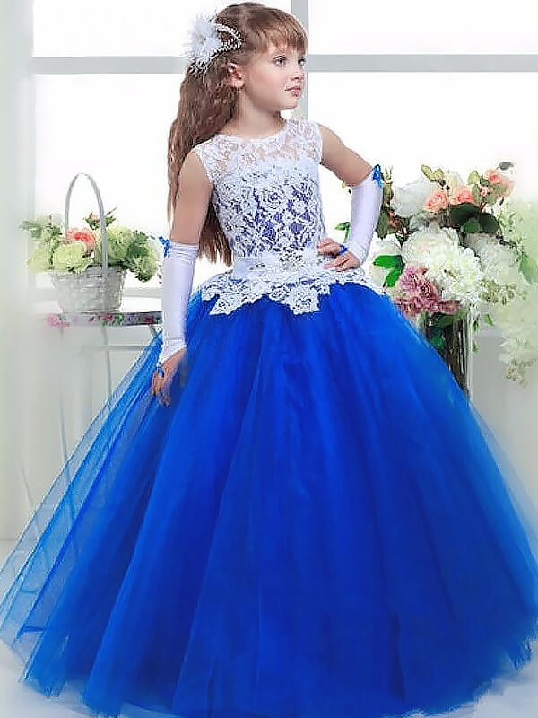 Ball Gown Jewel Floor-Length Royal Blue Flower Girl Dresses