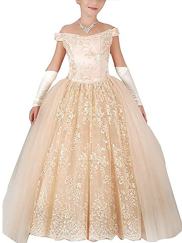 Off-the-Shoulder Floor-Length Champagne Flower Girl Dresses with Applique