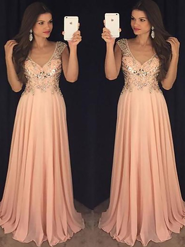 A-Line Chiffon V-neck Floor-Length Orange Prom Dresses
