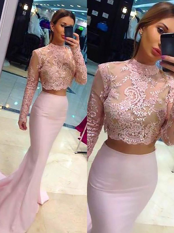 Long Sleeves High Neck Brush Train Pink Prom Dresses with Lace