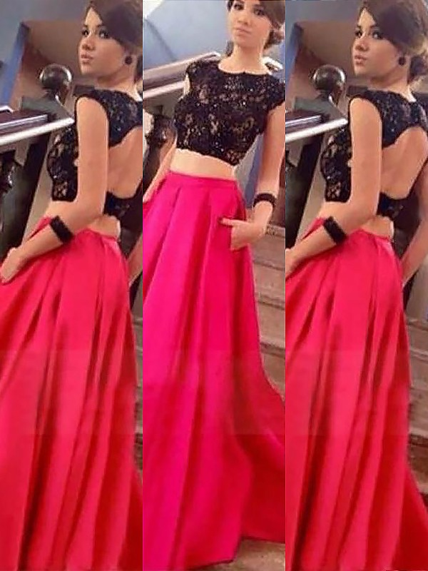 Fuchsia Bateau Satin Floor-Length Prom Dresses