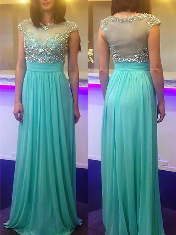 Floor-Length Green Bateau Prom Dresses with Beading