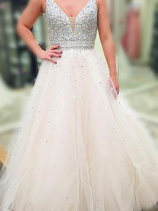 V-neck Floor-Length White Prom Dresses with Beading