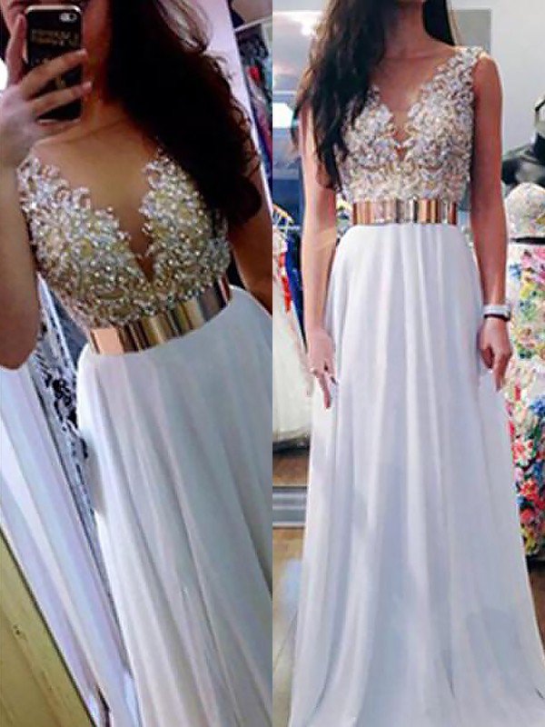 Chiffon V-neck Floor-Length White Prom Dresses