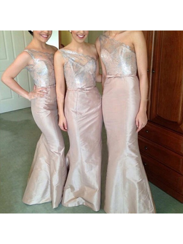 Mermaid One-Shoulder Floor-Length Pink Bridesmaid Dresses