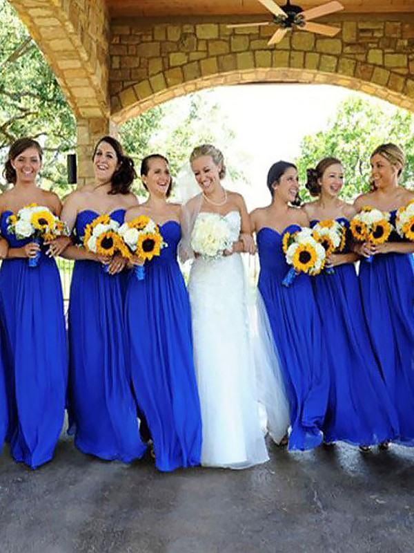 Sweetheart Floor-Length Royal Blue Bridesmaid Dresses
