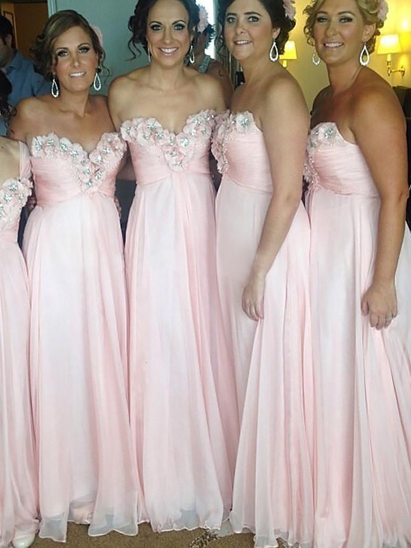 A-Line Sweetheart Floor-Length Pink Bridesmaid Dresses