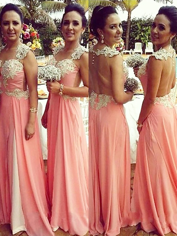 Pink A-Line Straps Floor-Length Bridesmaid Dresses with Applique