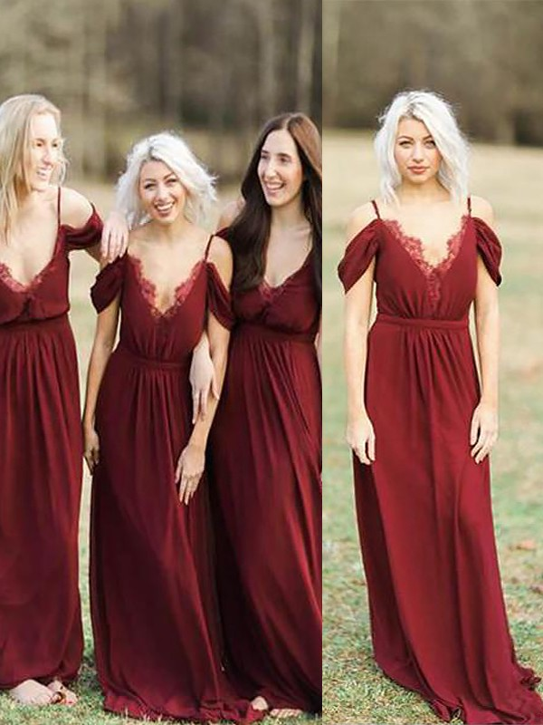 A-Line Spaghetti Straps Floor-Length Burgundy Bridesmaid Dresses