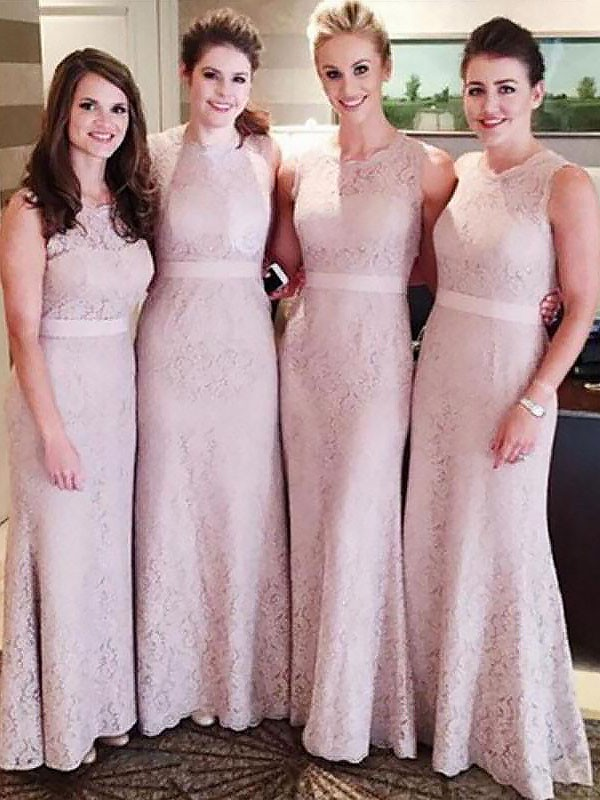 Sheath Scoop Floor-Length Pink Bridesmaid Dresses