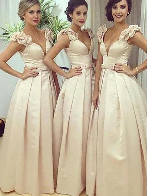 Satin A-Line Floor-Length Straps Champagne Bridesmaid Dresses