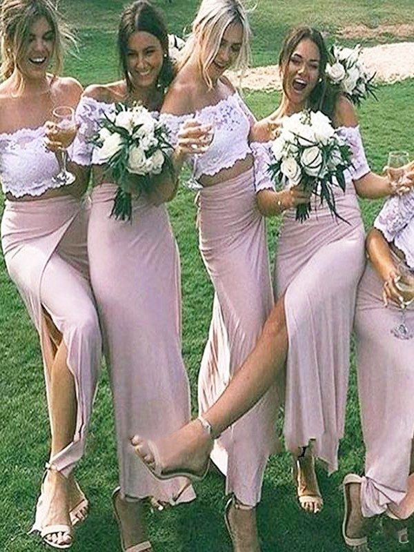 Sheath Off-the-Shoulder Floor-Length Pink Bridesmaid Dresses