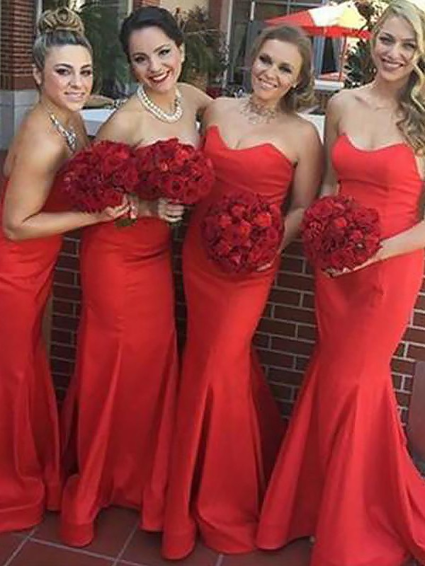 Floor-Length Red Sweetheart Bridesmaid Dresses