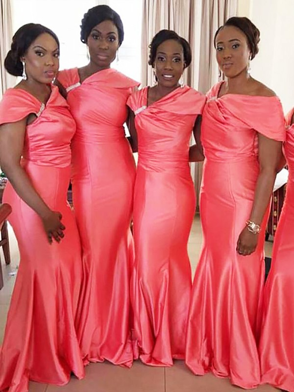 Mermaid Off-the-Shoulder Floor-Length Watermelon Bridesmaid Dresses