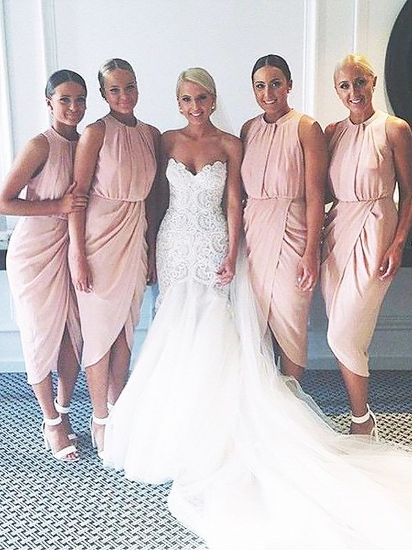 Sheath Scoop Knee-Length Pink Bridesmaid Dresses