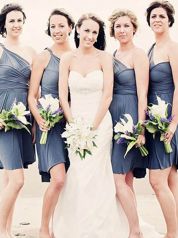 Chiffon One-Shoulder Short/Mini Grey Bridesmaid Dresses