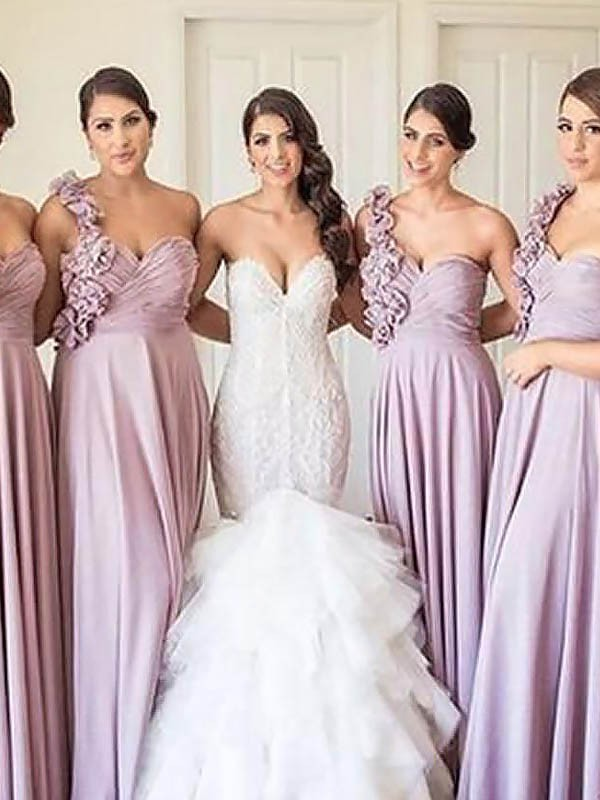 Pink A-Line One-Shoulder Floor-Length Bridesmaid Dresses